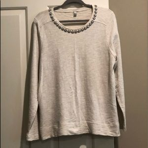 🆕J Crew Jeweled Neckline Sweatshirt